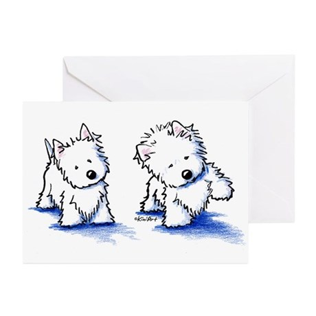 Shadowboxing Westies Greeting Cards (Pk of 20)