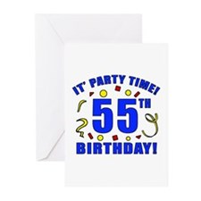 55th Birthday Party Time Greeting Cards (Pk of 20)