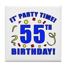 55th Birthday Party Time Tile Coaster