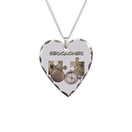 Geocacher Necklace Heart Charm