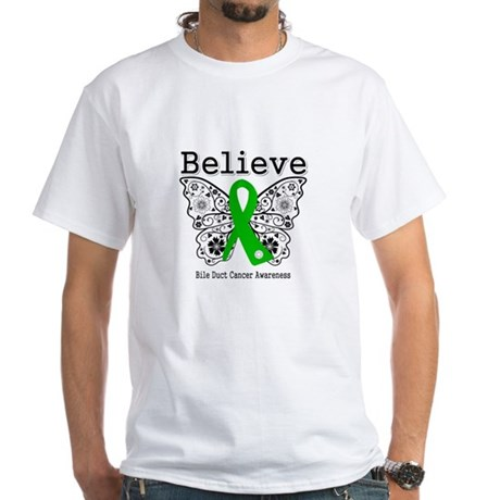 Believe Bile Duct Cancer White T-Shirt