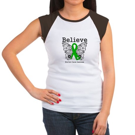 Believe Bile Duct Cancer Women's Cap Sleeve T-Shir