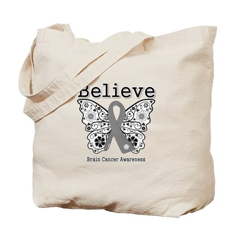 Believe Brain Cancer Tote Bag
