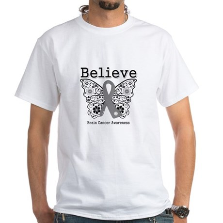 Believe Brain Cancer White T-Shirt