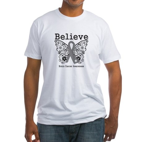 Believe Brain Cancer Fitted T-Shirt