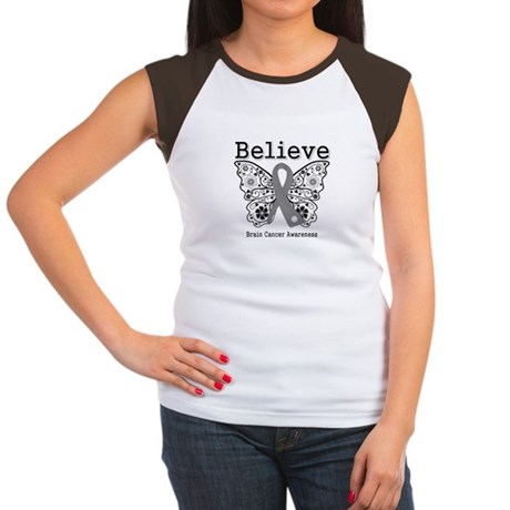 Believe Brain Cancer Women's Cap Sleeve T-Shirt