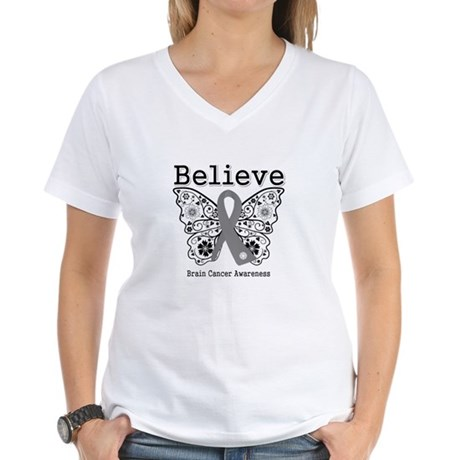 Believe Brain Cancer Women's V-Neck T-Shirt