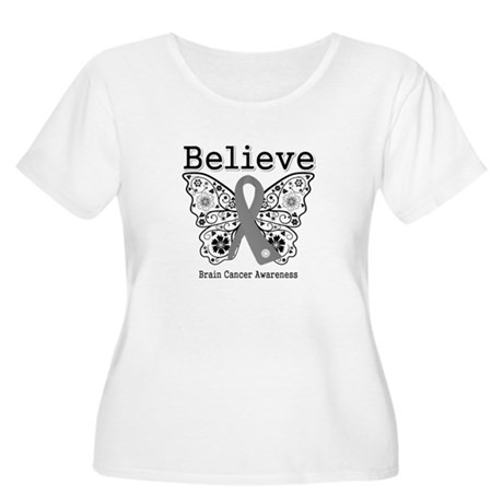 Believe Brain Cancer Women's Plus Size Scoop Neck