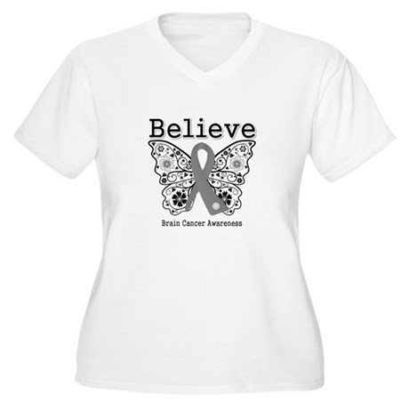 Believe Brain Cancer Women's Plus Size V-Neck T-Sh