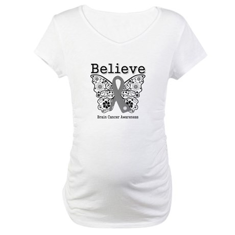 Believe Brain Cancer Maternity T-Shirt