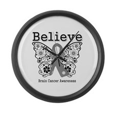 Believe Brain Cancer Large Wall Clock