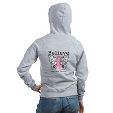 Believe Breast Cancer Zip Hoodie