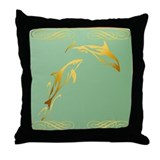 Two Gold Dolphins Throw Pillow