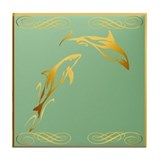 Two Gold Dolphins Tile Coaster