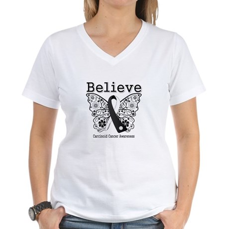 Believe - Carcinoid Cancer Women's V-Neck T-Shirt