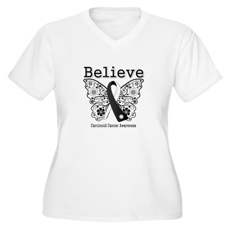 Believe - Carcinoid Cancer Women's Plus Size V-Nec