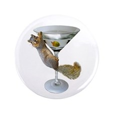 "Martini Squirrel 3.5"" Button"