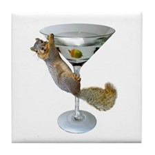Martini Squirrel Tile Coaster