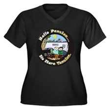 Cute Pensioner Women's Plus Size V-Neck Dark T-Shirt