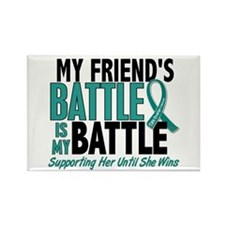 My Battle Too Ovarian Cancer Rectangle Magnet (10