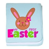 Girl Easter Bunny 1st Easter baby blanket