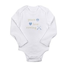 Peace, Love and Rowing Long Sleeve Infant Bodysuit