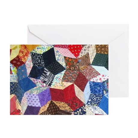 Tumbling Block Patchwork Quilt Greeting Cards (Pk