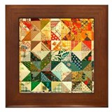Fun Patchwork Quilt Framed Tile