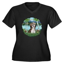 Birches - Shih Tzu #2 Women's Plus Size V-Neck Dar