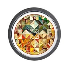 Fun Patchwork Quilt Wall Clock