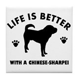 Chinese Sharpie Breed Design Tile Coaster