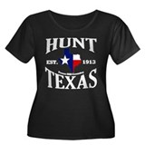 Hunt, Texas Women's Plus Size Scoop Neck Dark T-Sh