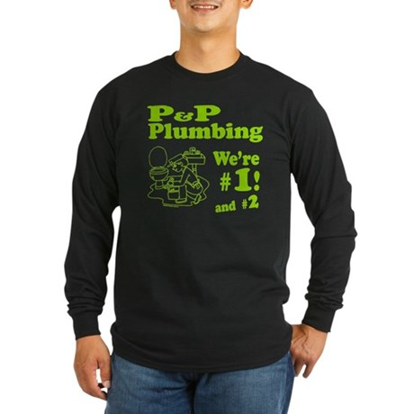 P P Plumbing Long Sleeve Dark T-Shirt