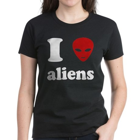 I Love Aliens Womens Dark T-Shirt