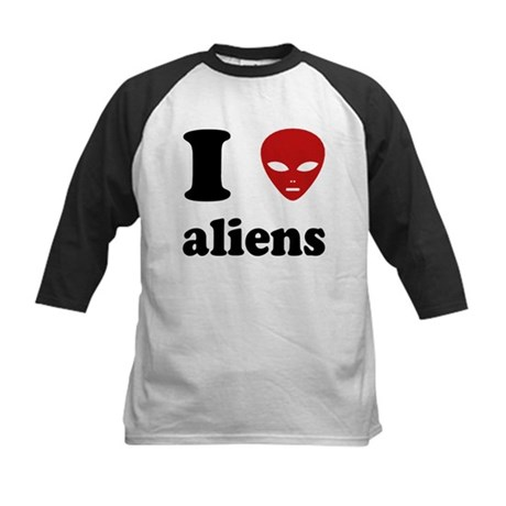 I Love Aliens Kids Baseball Jersey
