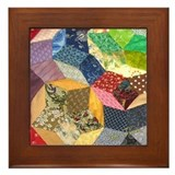 Tumbling Block Patchwork Quilt Framed Tile