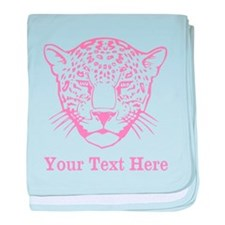 Pink Leopard and Writing. baby blanket