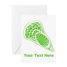 Lacrosse Crosse. Green Text. Greeting Card