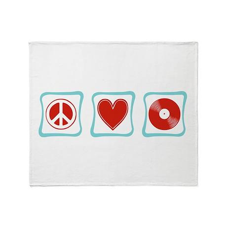 Peace, Love and Vinyl Throw Blanket