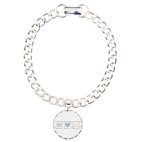Peace, Love and Rowing Charm Bracelet, One Charm