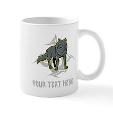 Cool Wolf and Gray Text. Mug