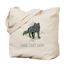 Cool Wolf and Gray Text. Tote Bag