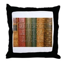 """Quiescit Anima Libris"" Throw Pillow"