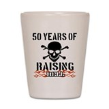 50 years of raising hell Shot Glass