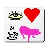 I Heart Teacup Pigs Mousepad