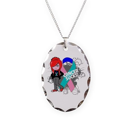 Thyroid CANCER SUCKS Necklace Oval Charm