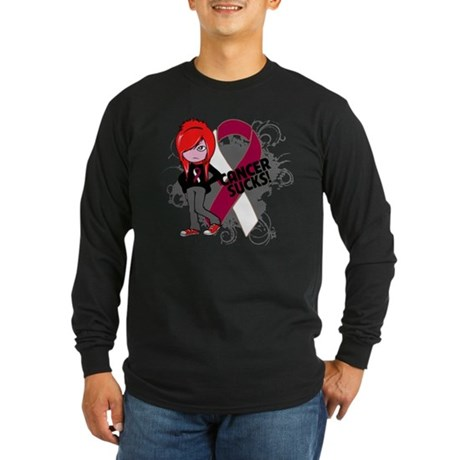 Throat CANCER SUCKS Long Sleeve Dark T-Shirt
