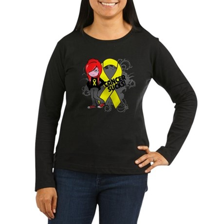 Testicular CANCER SUCKS Women's Long Sleeve Dark T