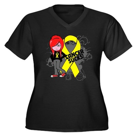 Testicular CANCER SUCKS Women's Plus Size V-Neck D