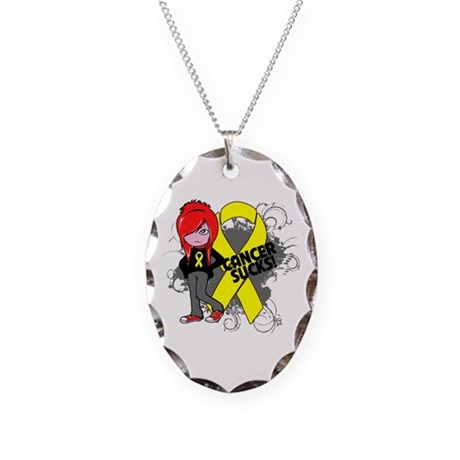 Testicular CANCER SUCKS Necklace Oval Charm